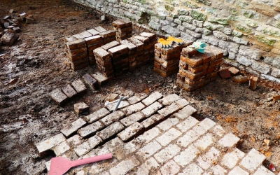 Bricks being reclaimed from site