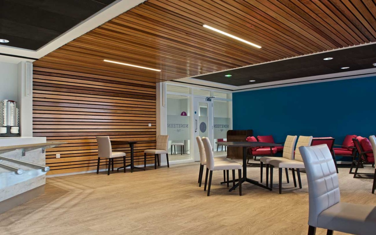 Timber ceiling and inline lighting